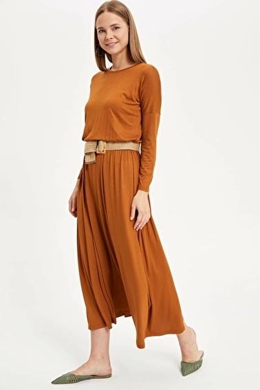 DeFacto Beli Büzgülü Uzun Elbise Kahve